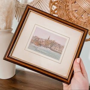 Vintage Original Riverfront Signed Wood Framed Art